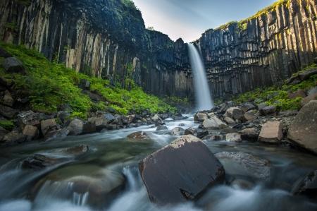 Svartifoss, Black Waterfall, Iceland Standard-Bild
