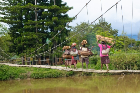 WAMENA, PAPUA, INDONESIA - November, 14: Papuan women crossing bridge on November, 14, 2008 near Wamena, Papua, Indonesia. Editorial