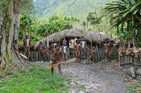 papua: WAMENA, PAPUA, INDONESIA - November, 14: Papuan people in the traditional village on November, 14, 2008 near Wamena, Papua, Indonesia. Editorial
