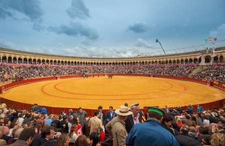 28: SEVILLE, SPAIN - April, 28: Corrida at Maestranza bullring on April, 28, 2012 in Seville, Spain Editorial