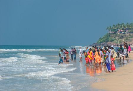 varkala: VARKALA, KERALA, INDIA - January, 22: CIndian people at Varkala beach on January, 22, 2013, in Kerala, India  Editorial