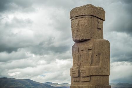 monolith: Monolith at Ruins of Tiwanaku, Bolivia Stock Photo