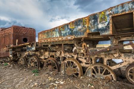 salar: Train cemetery, Uyuni, Bolivia Stock Photo