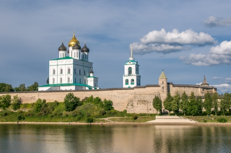 Pskov Kremlin (Krom) and the Trinity orthodox cathedral, Russia  photo