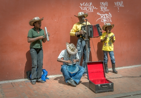 BOGOTA, COLOMBIA - November, 21: Family of street musicians, 21, 2009 in Bogota, Colombia  Editorial