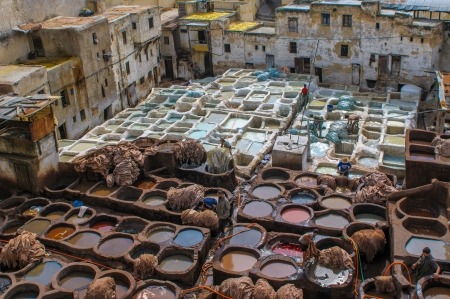 fez: Tannery in Fez, Morocco