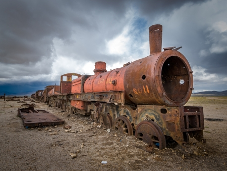 Train cemetery, Uyuni, Bolivia Stock Photo