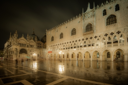 doges: Doges Palace at night, Venice, Italy Editorial