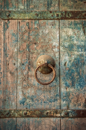 door handles: close-up image of ancient doors