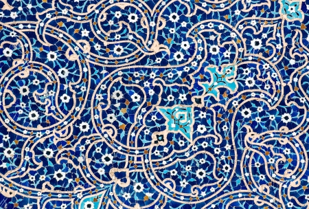 tiled background, oriental ornaments from Isfahan Mosque, Iran Stock Photo