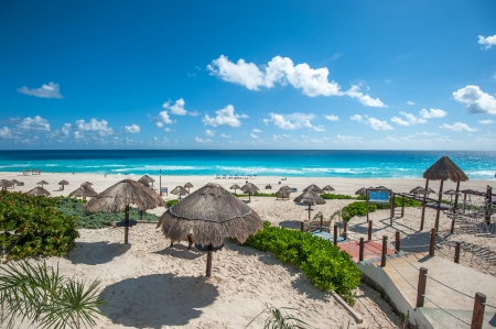 cancun: Dolphin Beach panorama, Cancun, Mexico Stock Photo