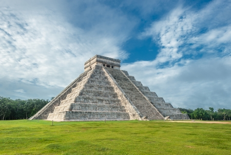 El Castillo or Temple of Kukulkan pyramid, Chichen Itza, Yucatan, Mexico photo