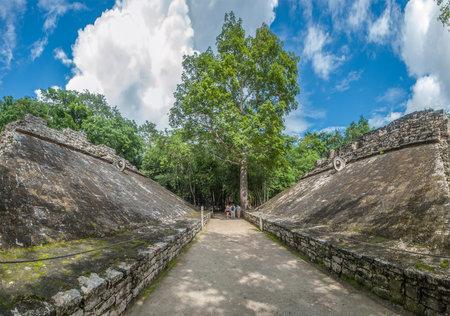 ballgame: Juego de pelota, Mayan ballgame field, Coba, Yucatan, Mexico Editorial