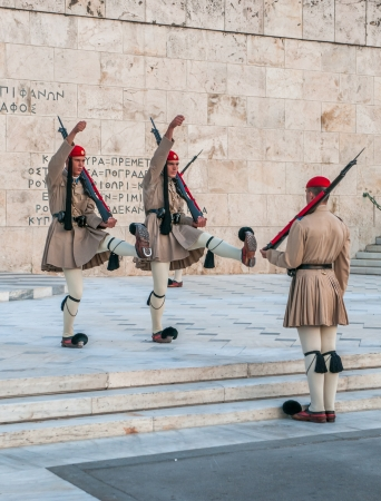 evzones guard: ATHENES, GREECE - March, 01: Evzones changing the guard at the Tomb of the Unknown Soldier in Athenes on March, 01, 2010 Editorial