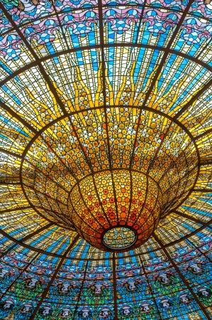 BARCELONA, SPAIN - April, 27, 2013: Ceiling in Music Palace, concert hall designed in the Catalan modernista style.