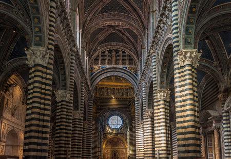 siena: TUSCANY, ITALY - July, 18, 2012: Interior of Siena Duomo, a medieval church in Siena, dedicated to Santa Maria Assunta.