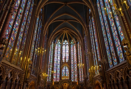 gothic church: PARIS, FRANCE - July, 20, 2011: Interior of Sainte-Chapelle, a royal medieval Gothic chapel, one of the most beautiful in Paris. Editorial