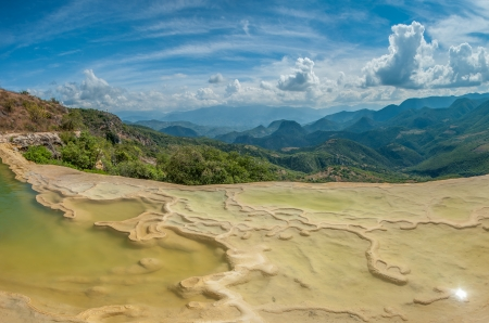 oaxaca: Hierve el Agua, natural rock formations in the Mexican state of Oaxaca Stock Photo