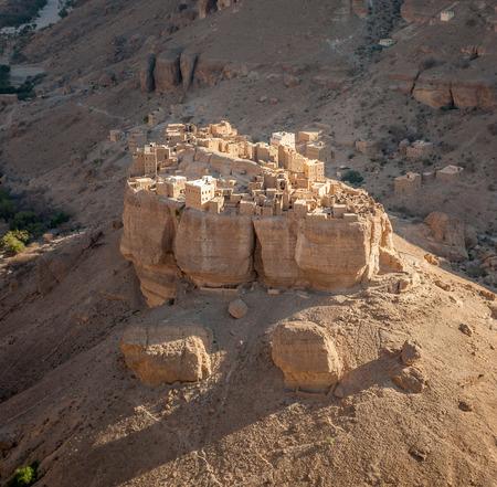wadi: Panorama of Haid Al-Jazil in Wadi Doan, Hadramaut, Yemen Stock Photo