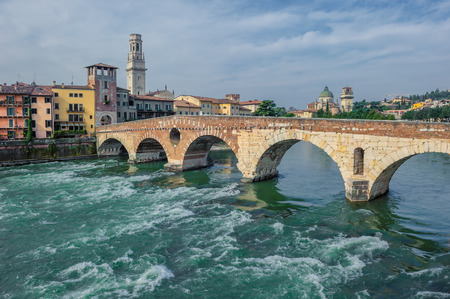 Ponte Pietra bridge, Verona, Italy photo