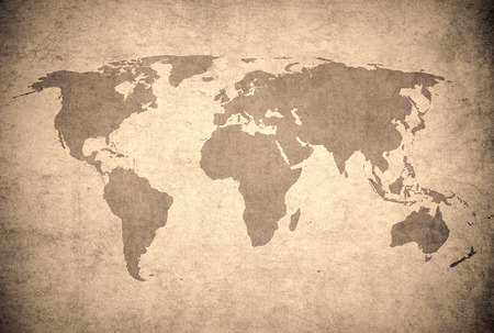 old rustic map: grunge map of the world  Stock Photo