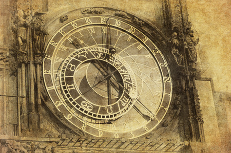 Vintage image of Prague Astronomical Clock, Orloj,  in the Old Town of Prague photo