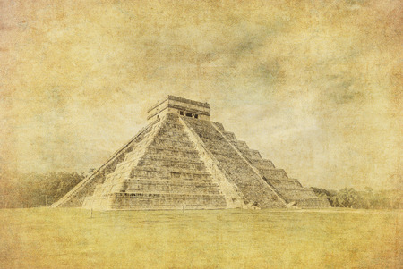 Vintage image of El Castillo or Temple of Kukulkan pyramid, Chichen Itza, Yucatan, Mexico photo