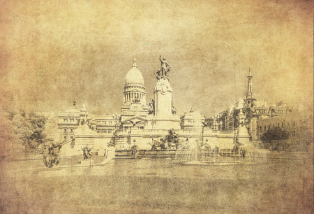 Vintage image of National Congress building, Buenos Aires, Argentina photo