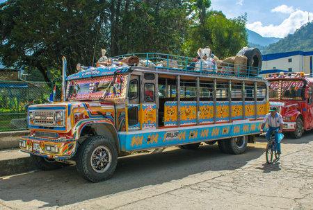 SILVIA, POPAYAN, COLOMBIA - November, 24, 2009: Colorful chiva bus in Silvia village. 에디토리얼