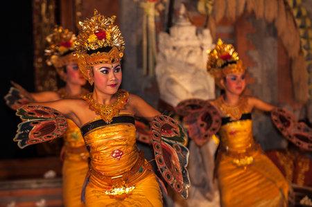 UBUD, BALI, INDONESIA - August, 07: Legong traditional Balinese dance in Ubud, Bali, Indonesia on August, 07, 2010