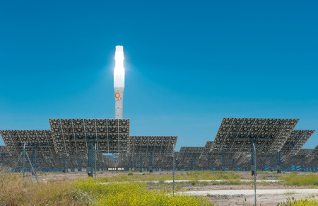 solar power: ANDALUCIA, SPAIN - April, 24, 2012: Gemasolar power station. The plant is a 140 m high solar power tower and uses a molten salt heat storage system.