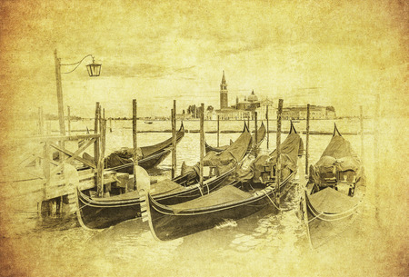 Vintage image of Gondolas at Grand Canal, Venice, Italy photo