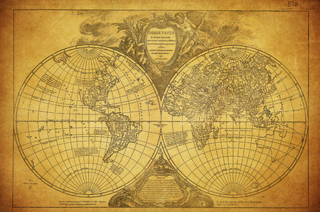 old rustic map: vintage map of the world 1752