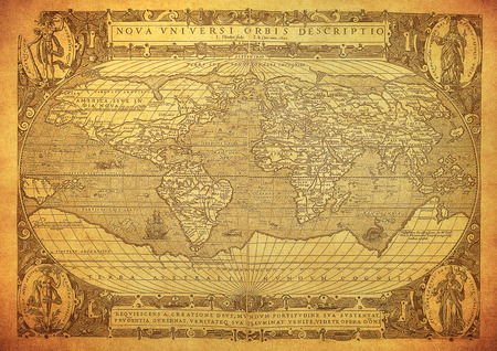 old rustic map: vintage map of the world 1602