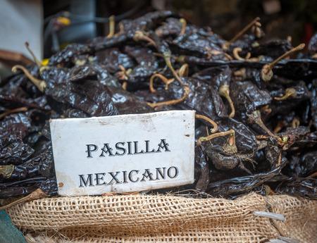 oaxaca: Pasilla chili in Oaxaca market, Mexico  Stock Photo