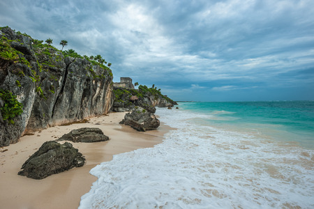 riviera: White sand beach and ruins of Tulum, Yuacatan, Mexico  Stock Photo