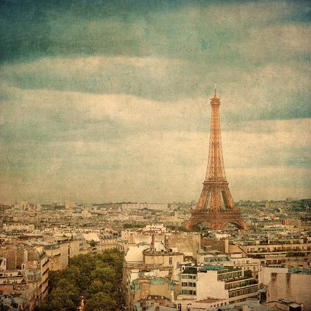 d'eiffel: Vintage image of Eiffel tower, Paris, France Stock Photo