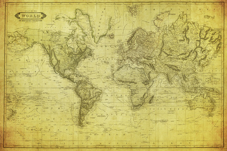 old rustic map: vintage map of the world 1831   Editorial