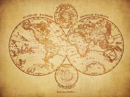 고대: 세계 1860의 빈티지지도 에디토리얼