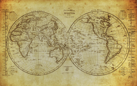 vintage map of the world 1839 写真素材
