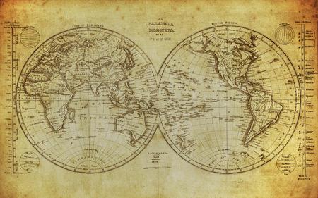 Carte vintage du monde 1839 Banque d'images - 30712175