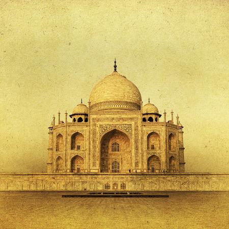 agra: Vintage image of Taj Mahal at sunrise, Agra, India Stock Photo