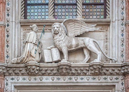 doges: Architectural details of Doges Palace, Venice, Italy