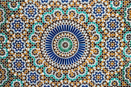 yellow wall: moroccan tile background