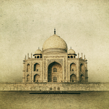 Vintage image of Taj Mahal at sunrise, Agra, India photo