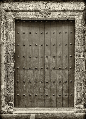 Close-up of old doors Cartagena Colombia photo & Old Wood Door With Moorish Door Knob Handle Stock Photo Picture ... pezcame.com