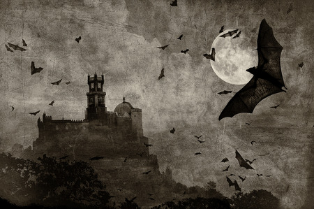 castle silhouette: halloween background