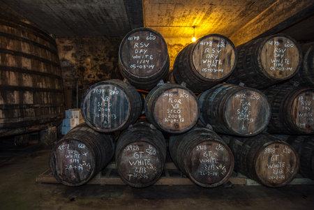 sherry: Sherry barrels in Jerez bodega, Spain