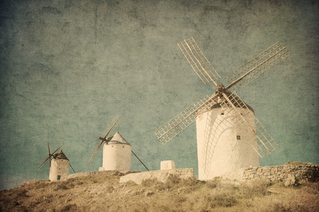 don: Vintage image of windmills in Consuegra, Spain Stock Photo