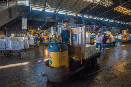 motorizado: TOKIO, JAP�N - Noviembre 22, 2014: Un hombre Taretto conducci�n, motorizado carrito de carga, en Tsukiji, el mayor mercado de pescado y mariscos en el mundo.